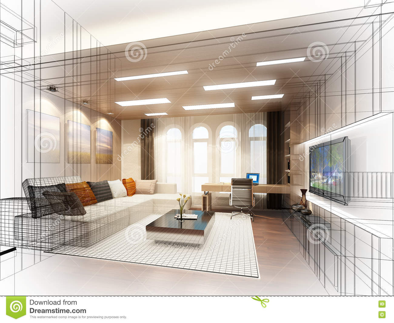 Sketch design of living room 3dwire frame stock Room sketches interior design