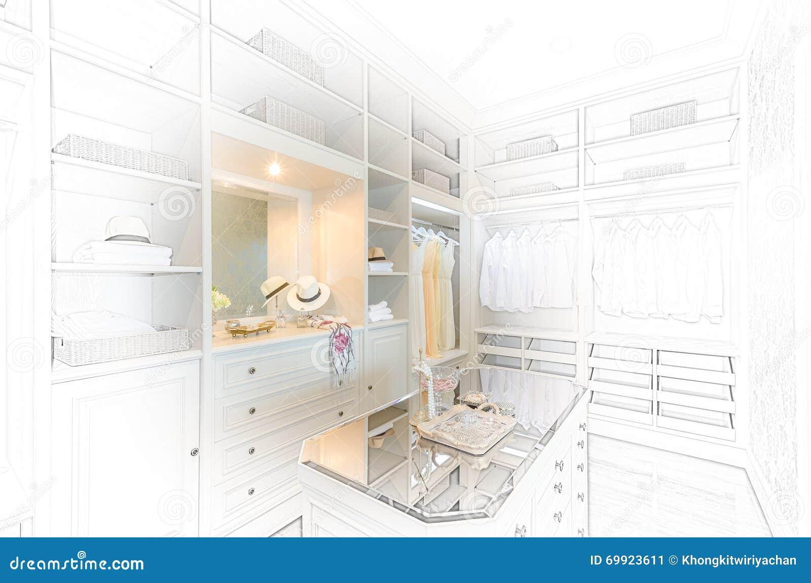 Sketch Design Of Luxury Walk In Closet Stock Image Image