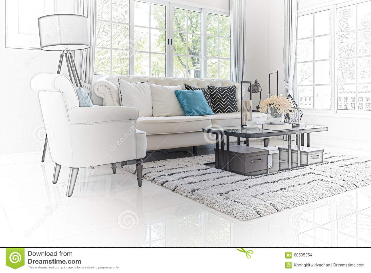 Sketch design of modern living room interior stock photo for Photo salon moderne