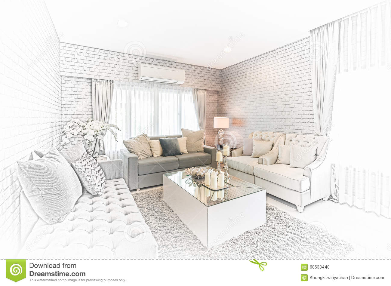 Modern furniture sketches chair sketches - Sketch Design Of Modern Living Room With Modern Chair And Sofa A Stock Photo
