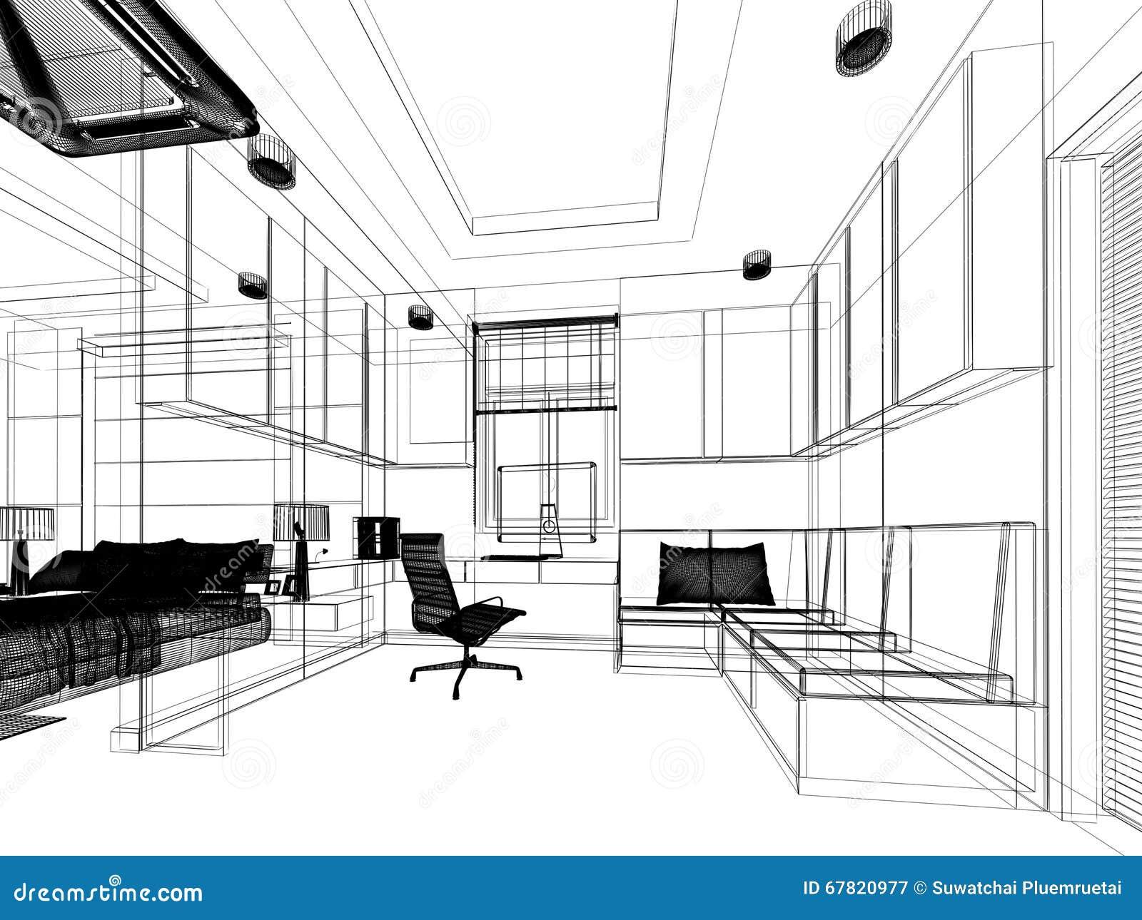 Sketch Design Of Study Room