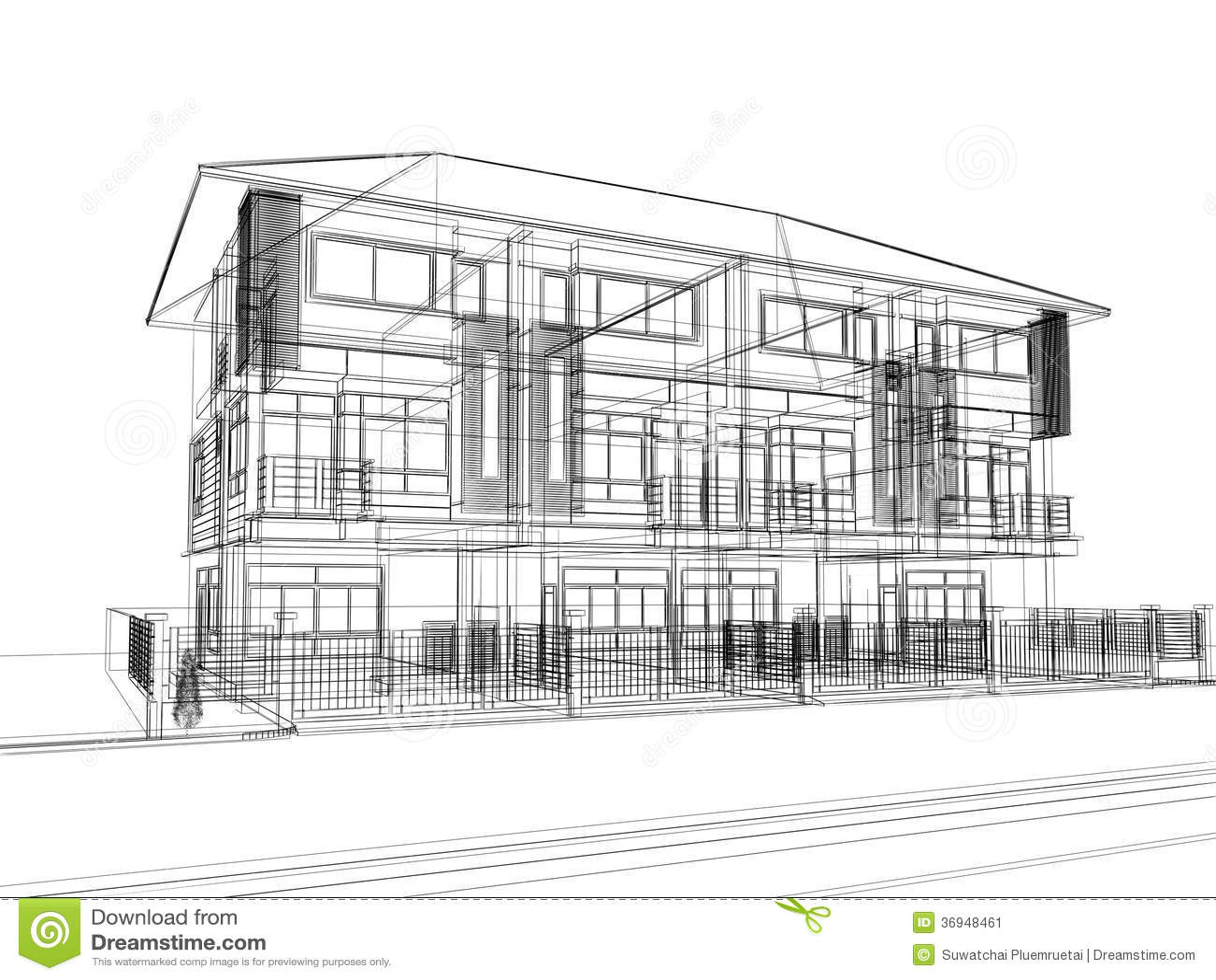 3D Sketch Of Home Design Stock Illustration - Image: 57372414
