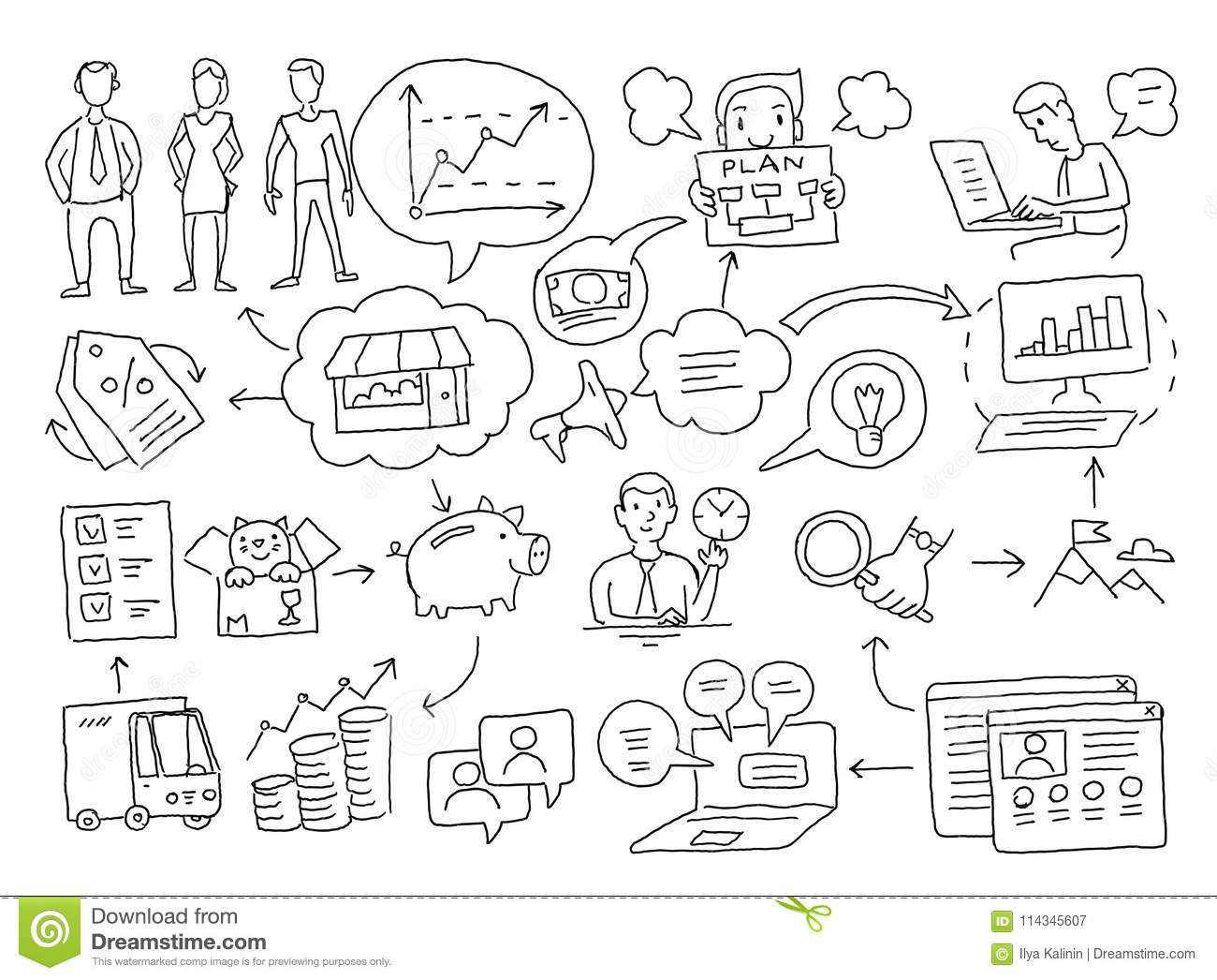 Sketch Diagram Of Cases  Business Plan Presentation Freehand
