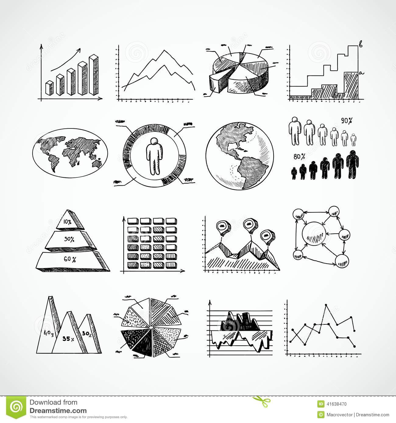 Sketch diagrams set stock vector. Illustration of business - 41638470