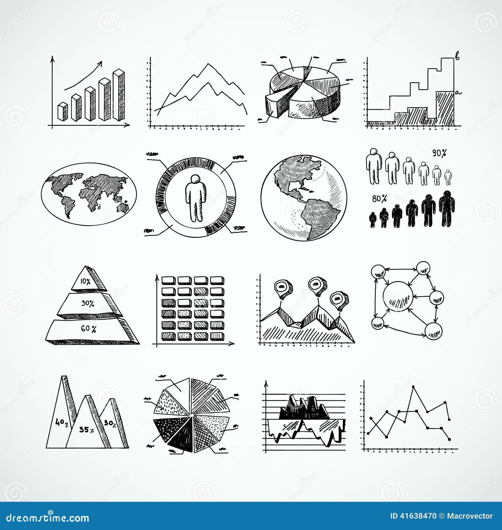 sketch diagrams set stock vector