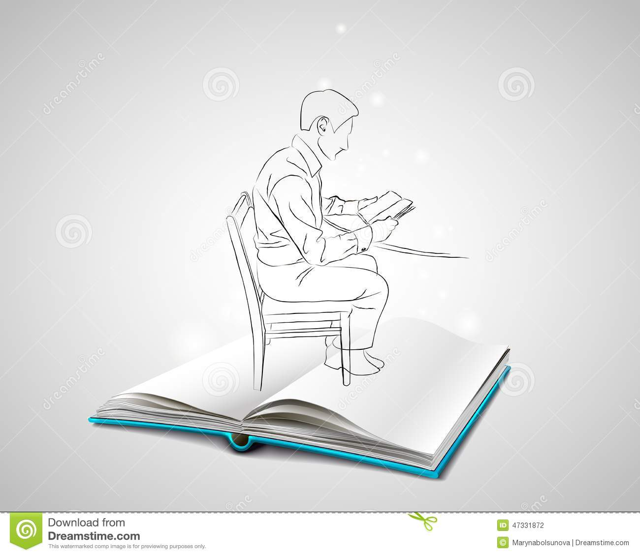 Man sitting in chair drawing - Blue Book Chair Cover Doodle Man Open Sitting Sketch Table Drawing
