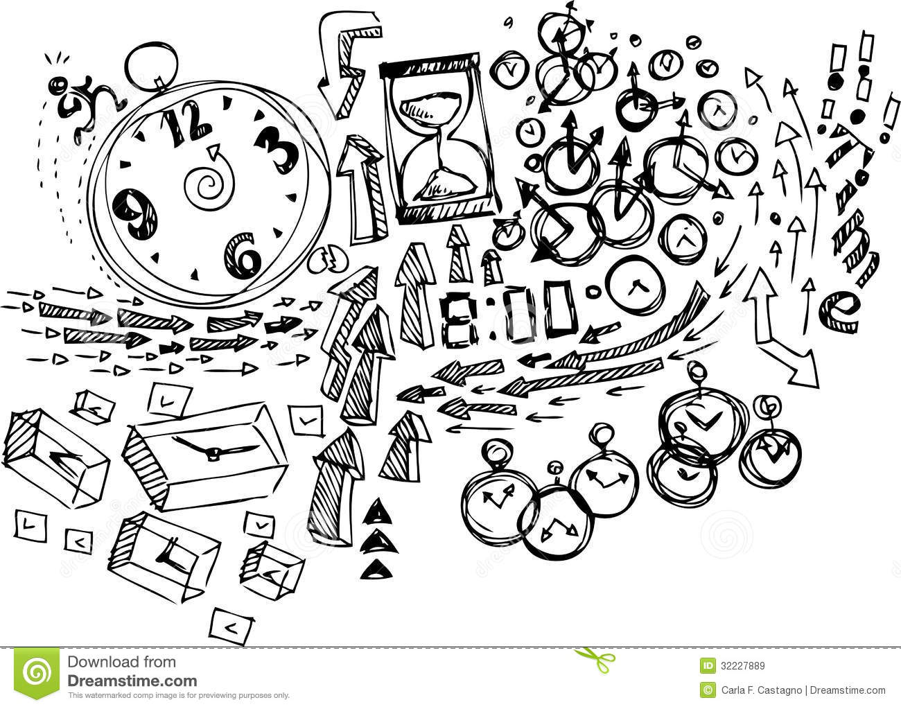 Clocks and arrows. Concept sketchy doodles vector illustration about ...