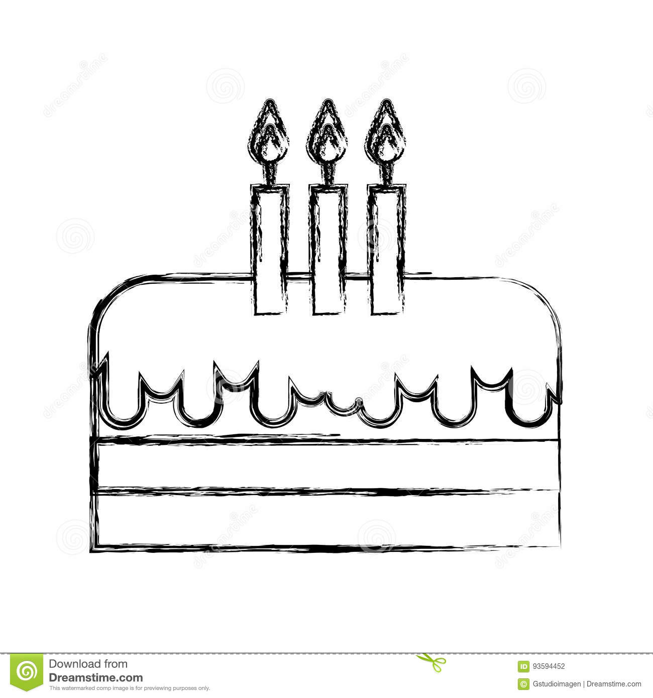 Sketch Draw Birthday Cake Cartoon Stock Vector Illustration Of