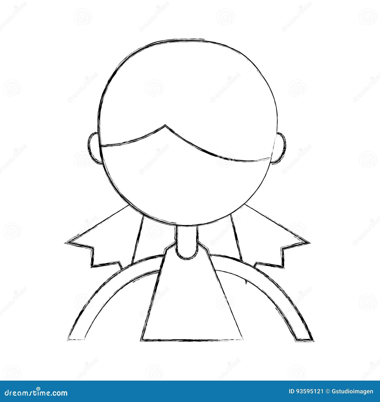 sketch draw upper body girl cartoon stock vector illustration of