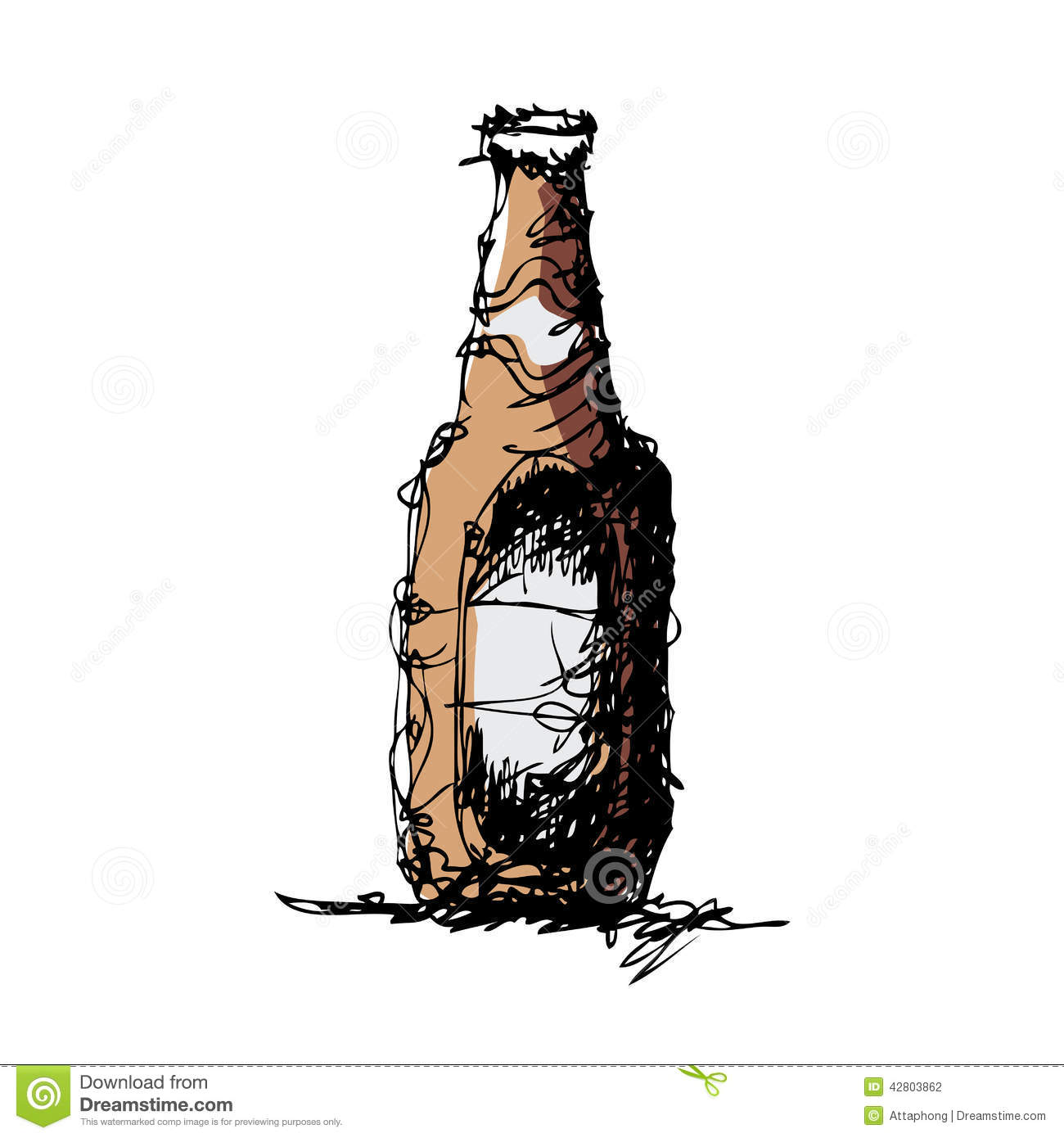 Sketch Drawing Of A Beer Bottle Stock Vector - Image: 42803862