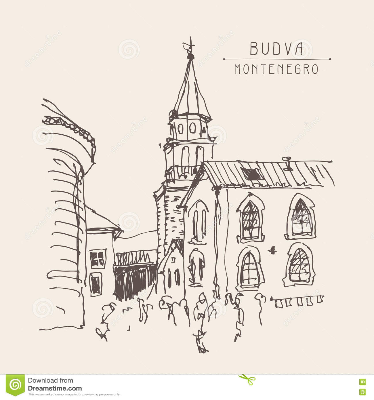Sketch drawing of the bell tower church top view in old town bud