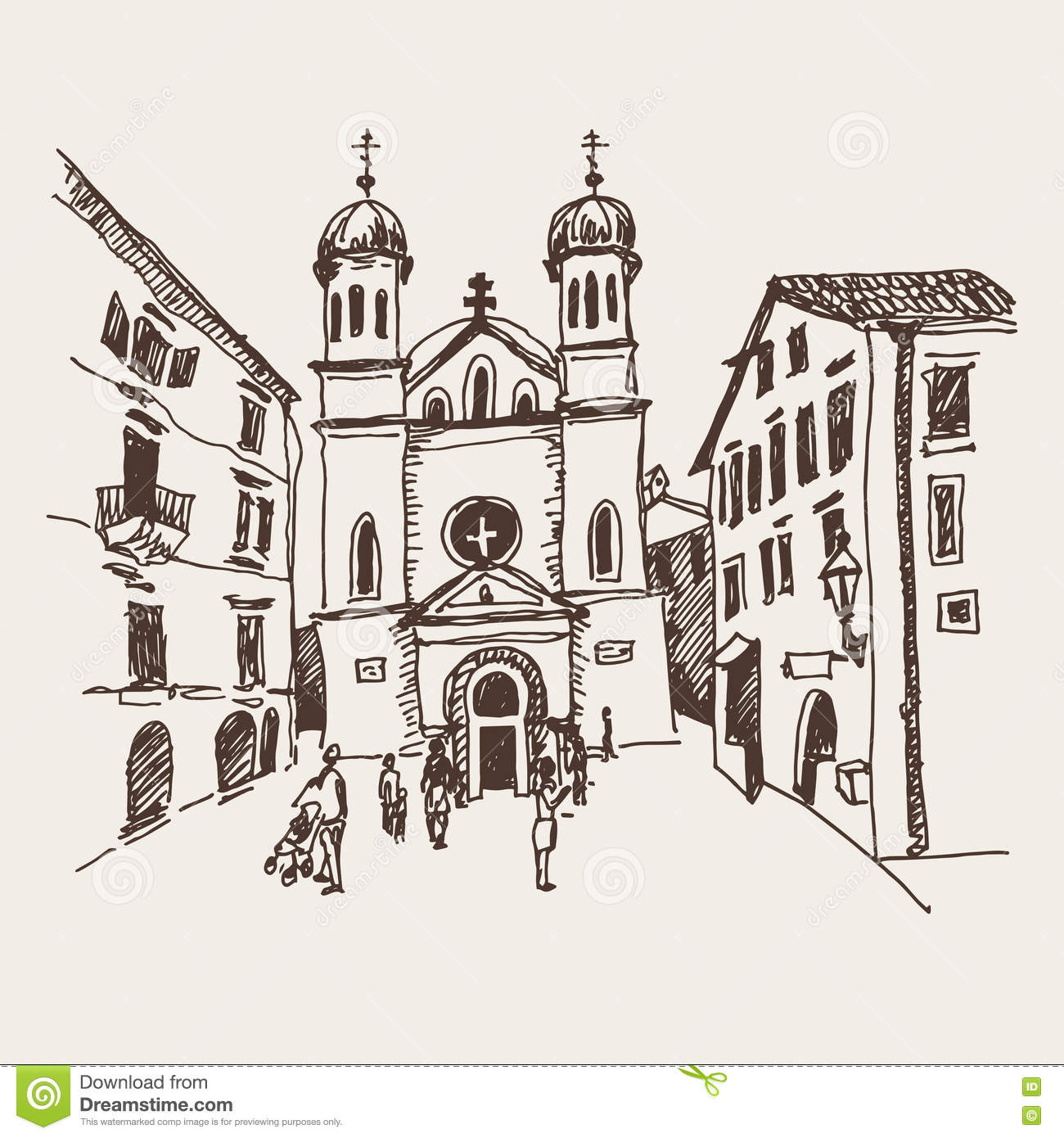 Sketch drawing of Church of Saint Tryphon in Kotor Montenegro