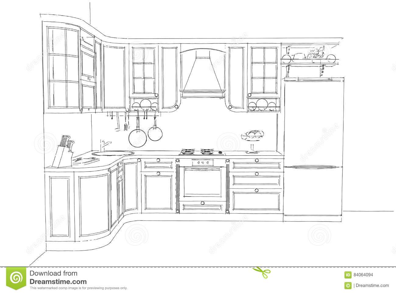 Sketch drawing of classic kitchen interior 3d rendering illustration 3d perspective