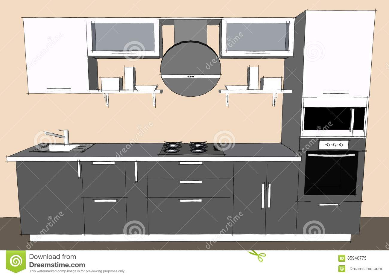 sketch drawing of 3d grey modern kitchen interior with round hood sketch drawing of 3d grey modern kitchen interior with round hood and glass doors of cupboards