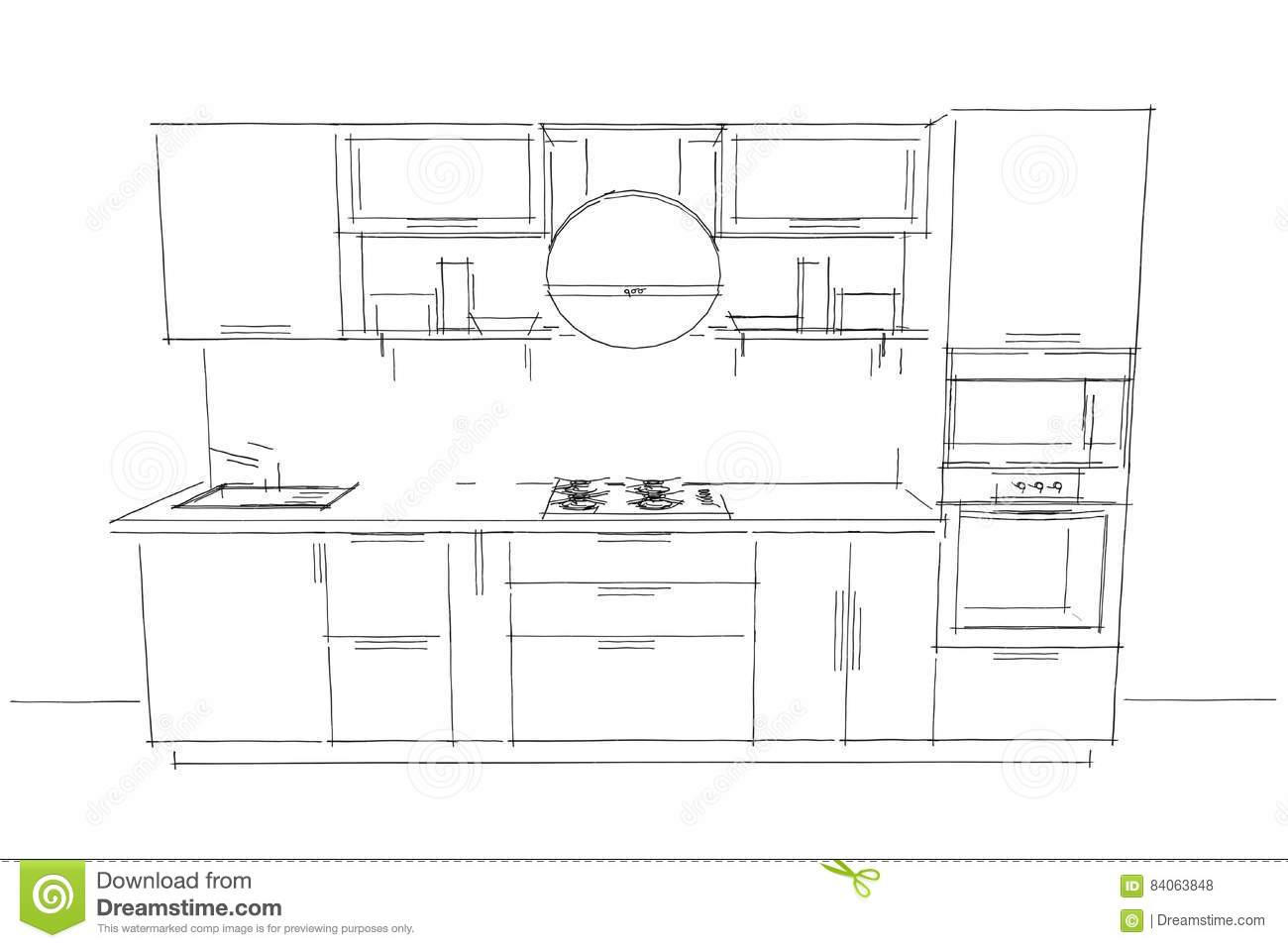 Sketch Drawing Of 3d Modern Kitchen Interior With Round Hood Stock Illustration Illustration