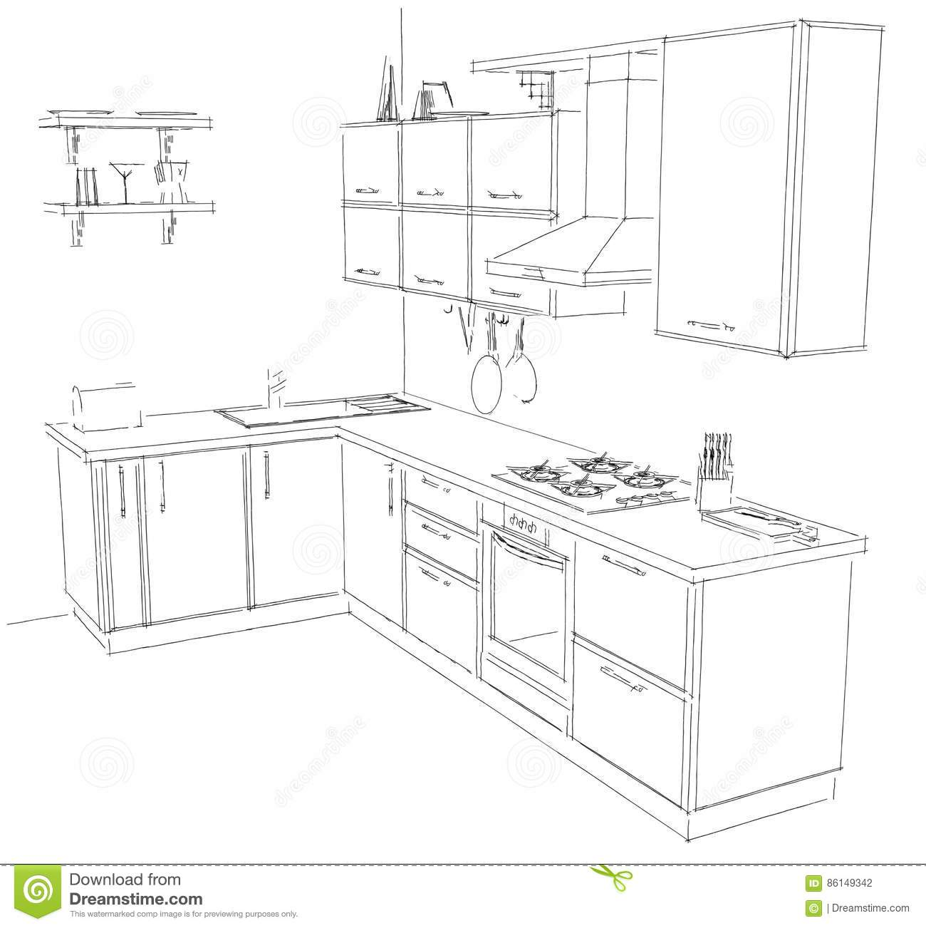 Sketch Drawing Of Modern Corner Kitchen Interior Black And