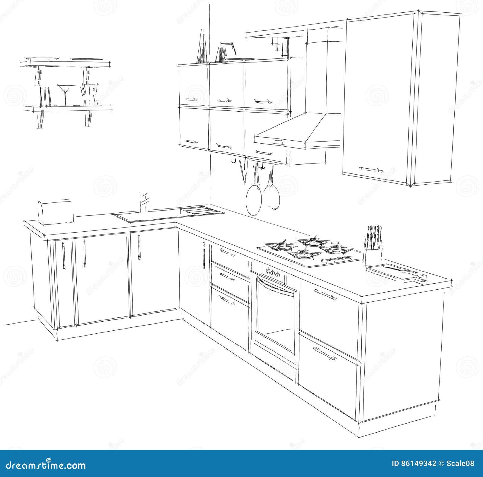 Dream Kitchen Design Drawing: Sketch Drawing Of Modern Corner Kitchen Interior Black And