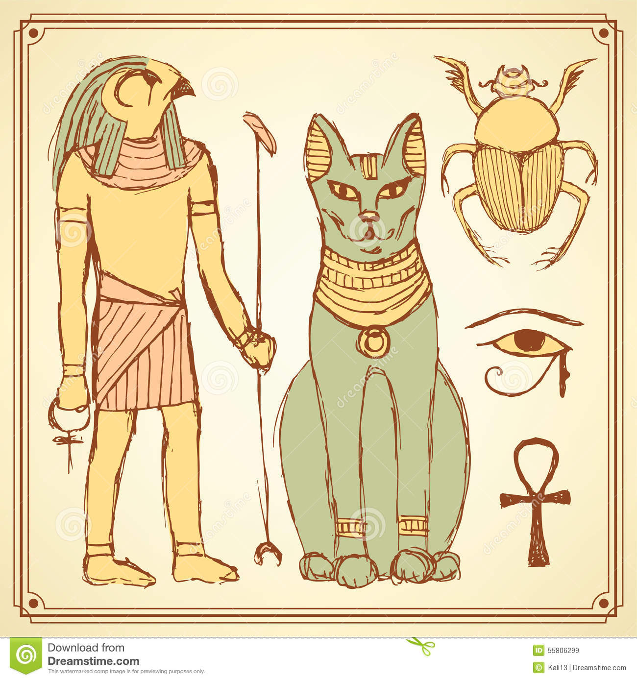 Sketch Egyptian symbols in vintage style