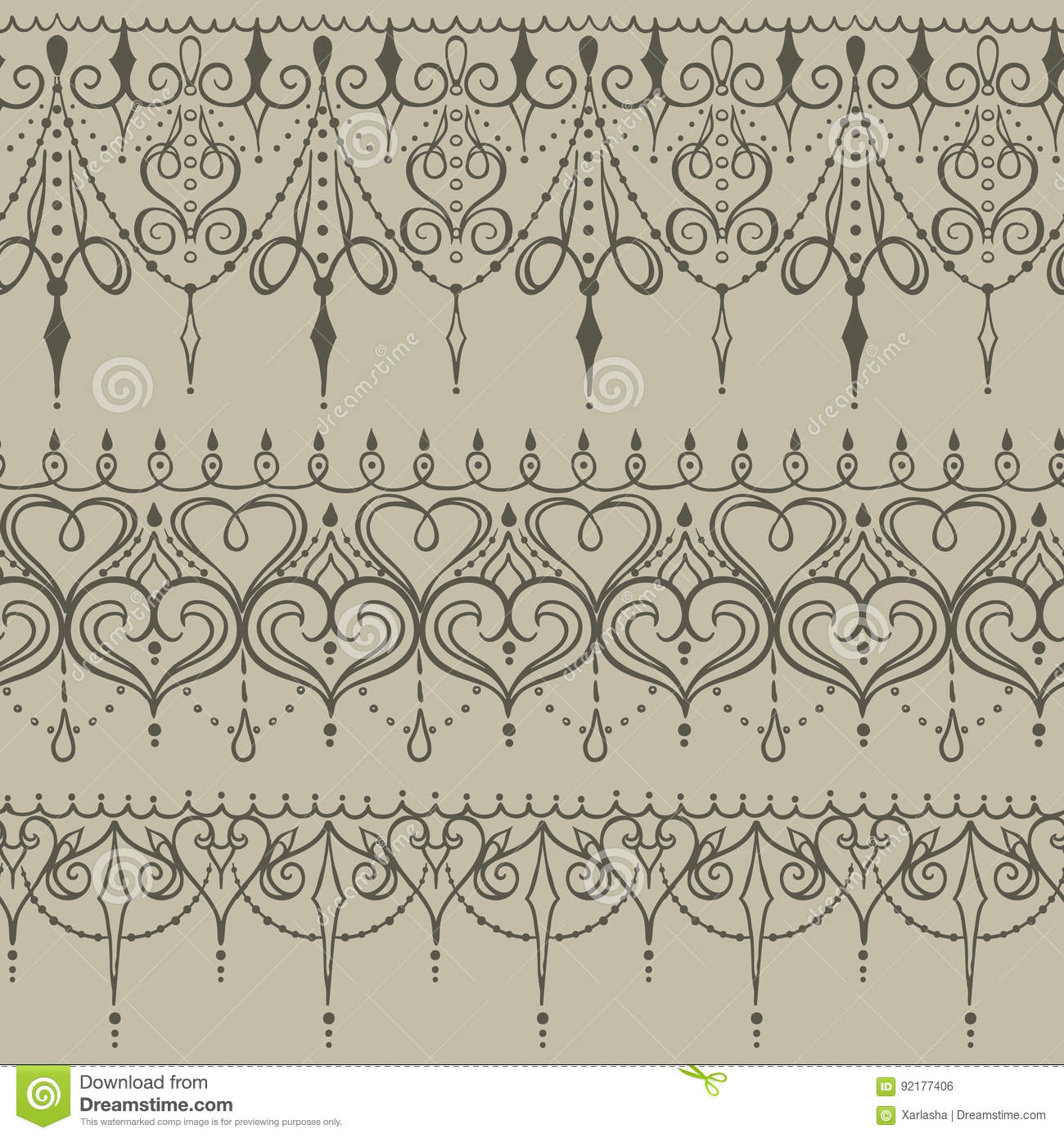 Sketch Of Endless Stripes In Henna Tattoo Style Stock Vector