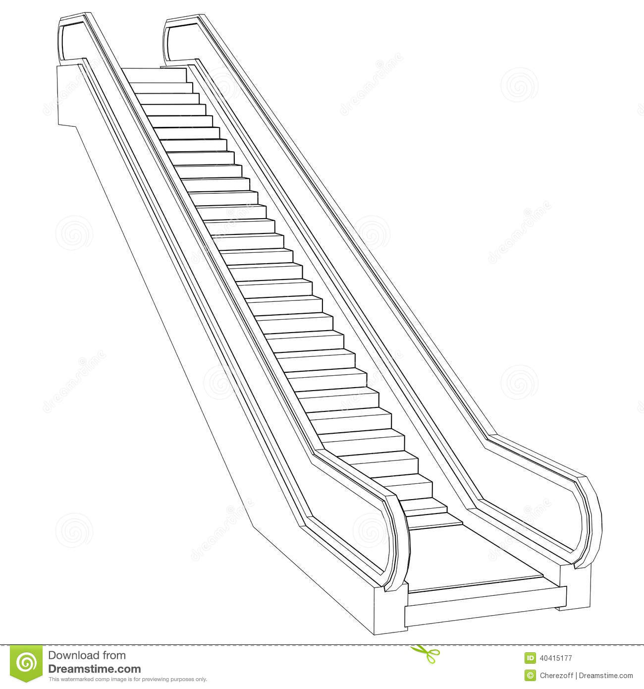 Sketch Escalator. Wire Frame Render Stock Illustration ...