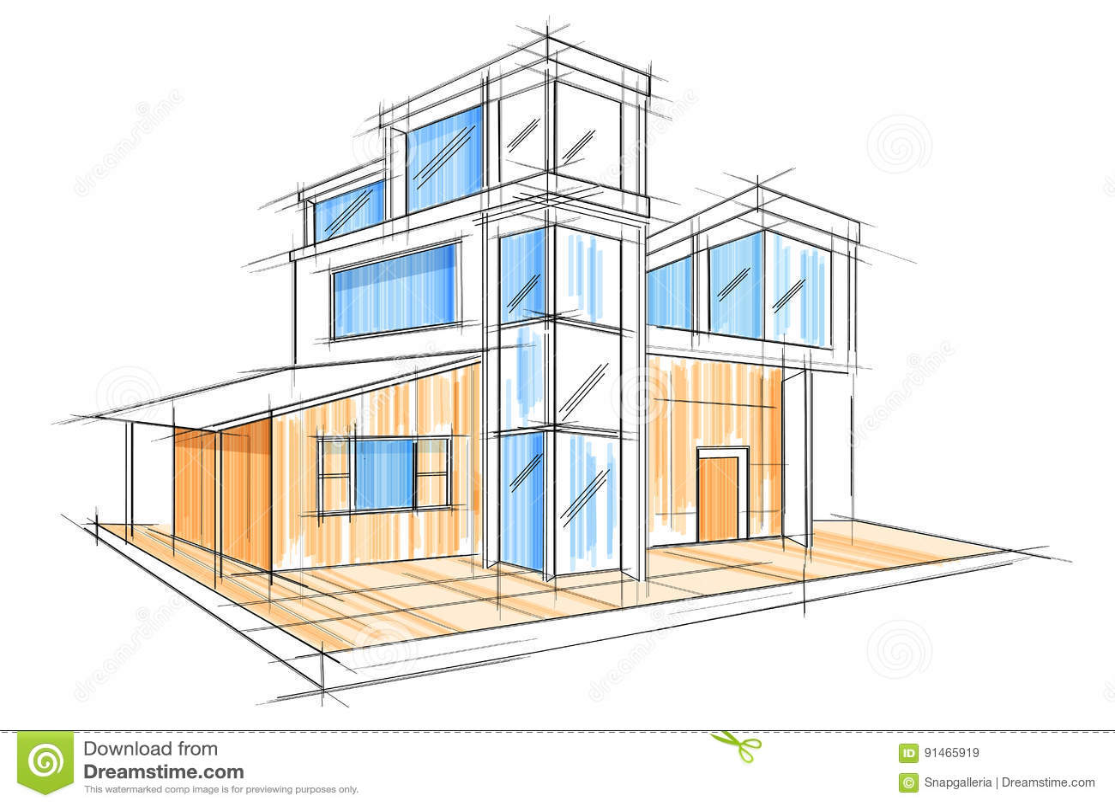 sketch exterior building draft blueprint design easy to edit vector illustration 91465919