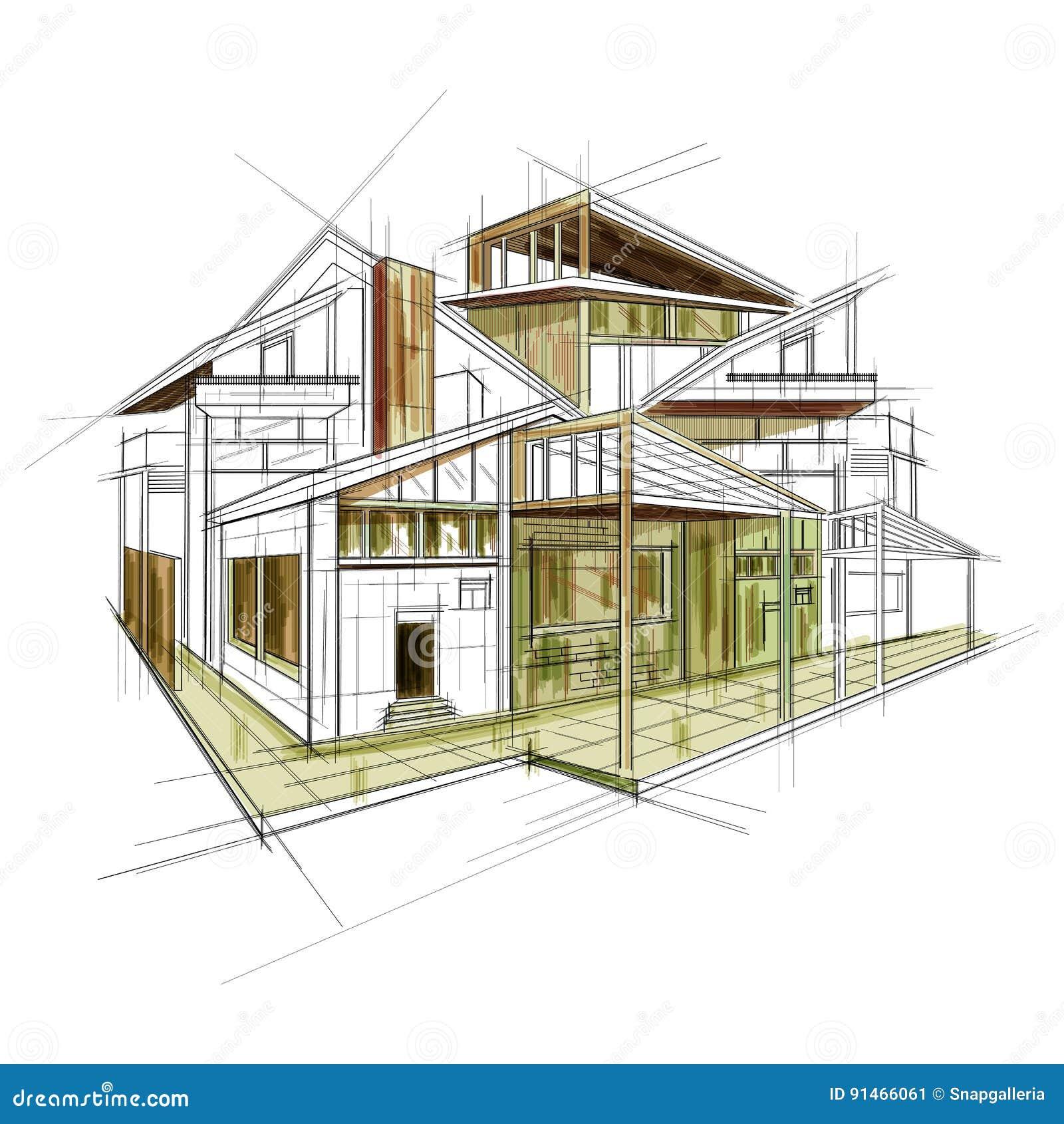 Sketch of exterior building draft blueprint design stock vector download sketch of exterior building draft blueprint design stock vector illustration of engineering blueprint malvernweather Images