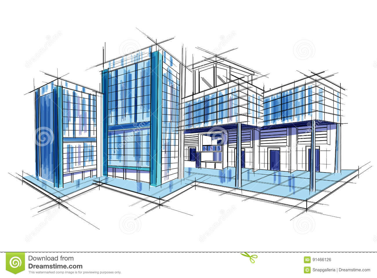 Sketch of exterior building draft blueprint design stock vector download comp malvernweather Images