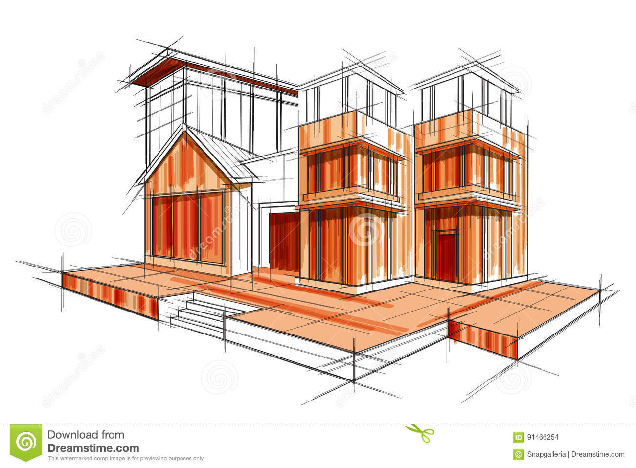 Sketch of exterior building draft blueprint design stock vector sketch of exterior building draft blueprint design illustration doodle malvernweather Images