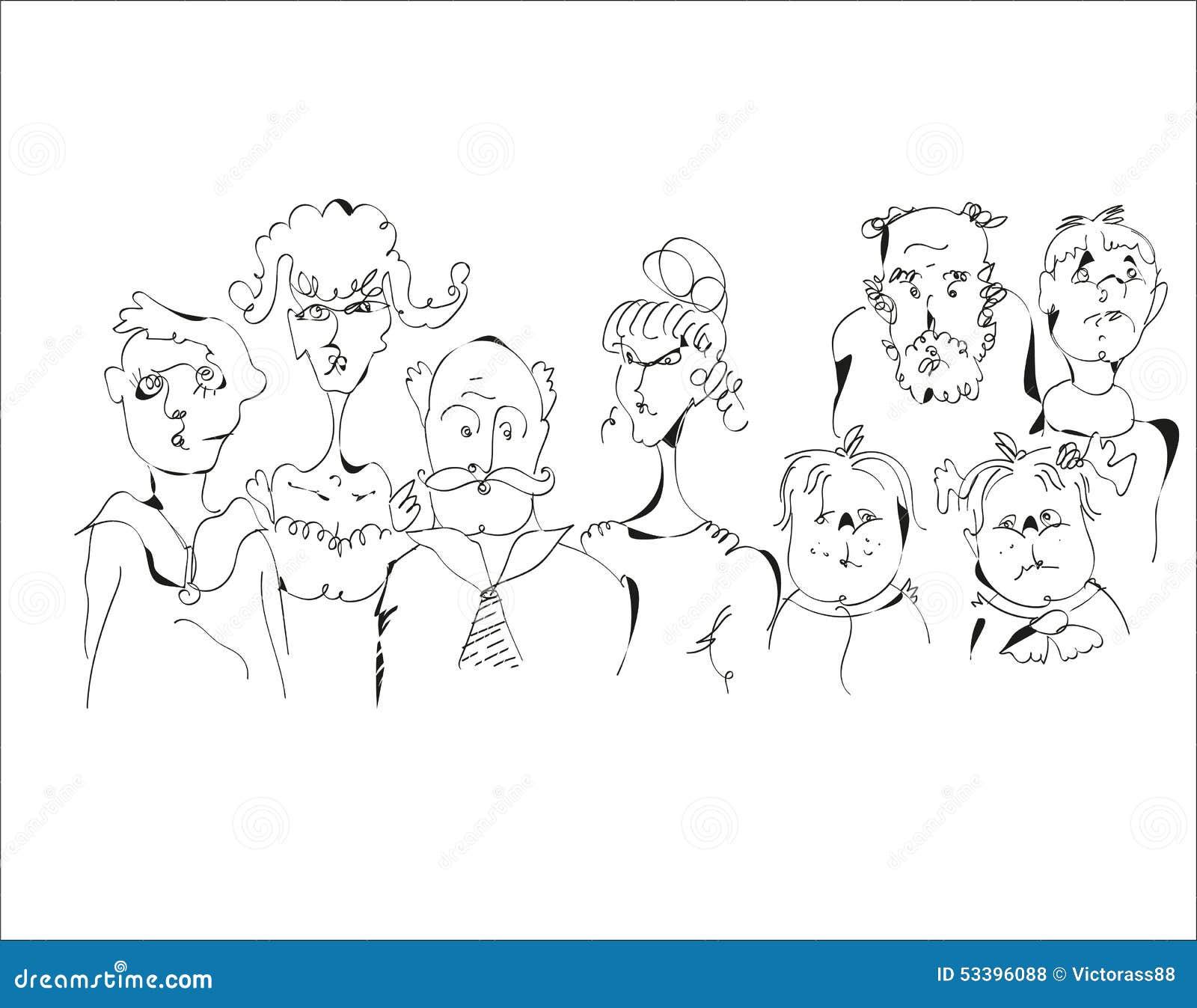 Sketch Of A Family Stock Vector