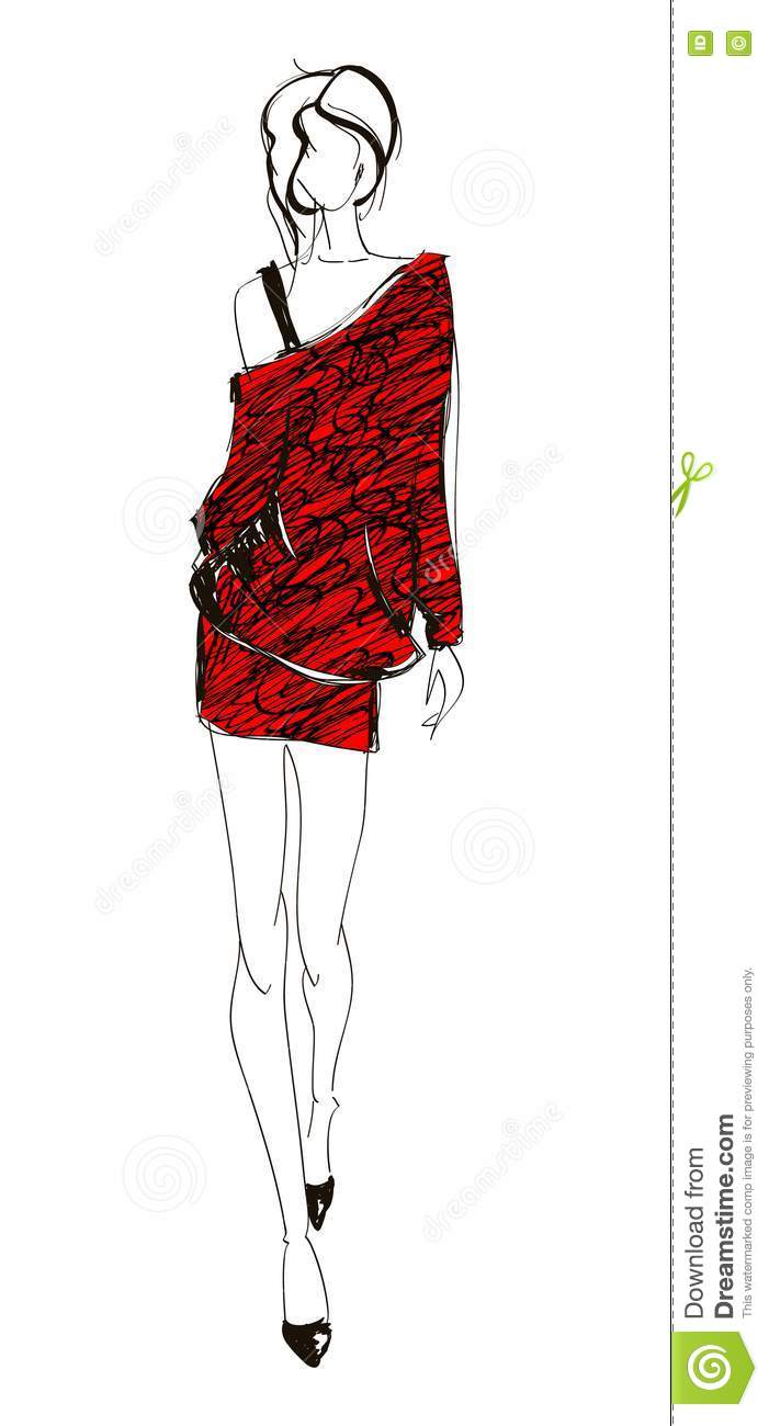 Sketch Fashion Girl Stock Photos Image 23455303