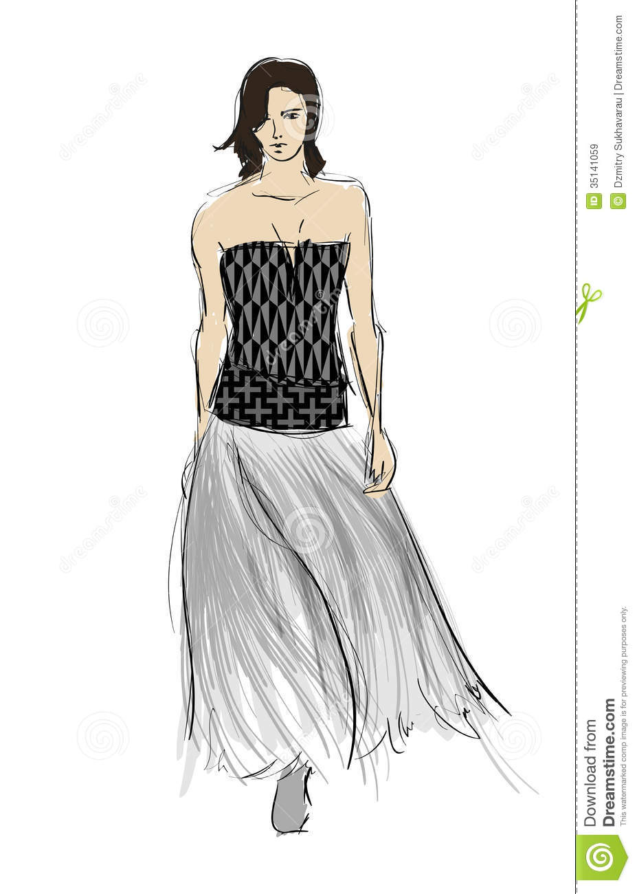 Sketch Fashion Girls Royalty Free Stock Images Image 35141059