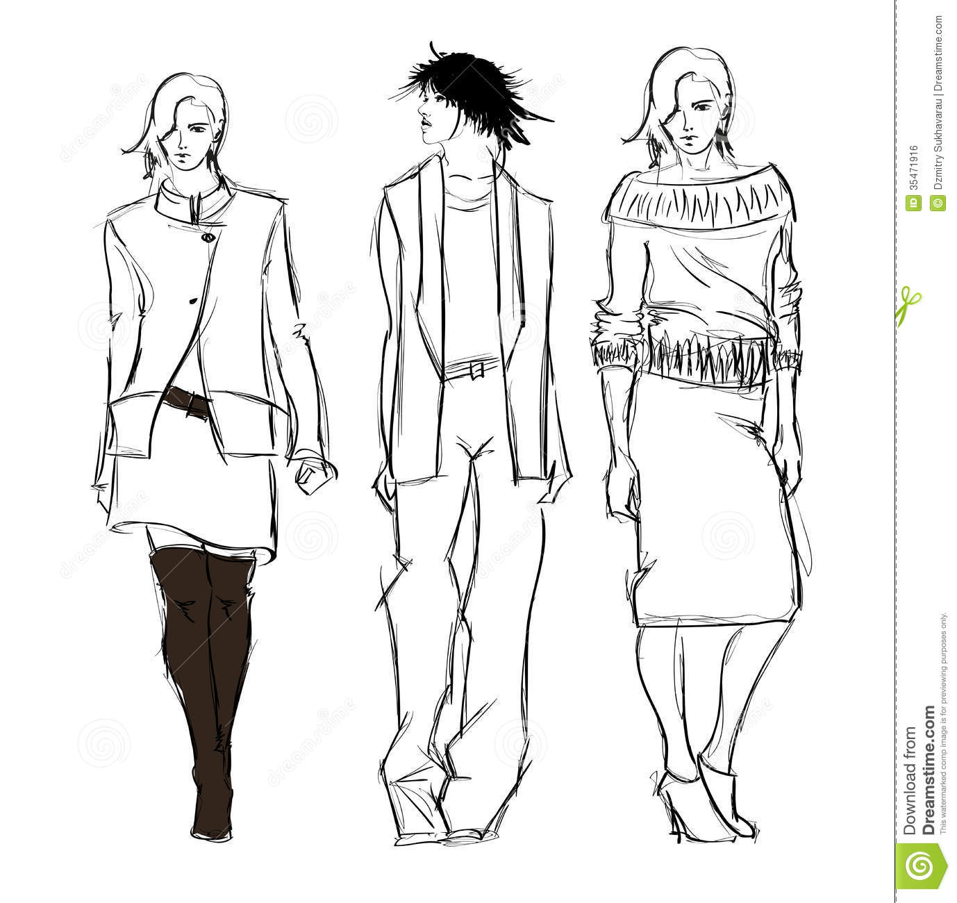 Sketch Fashion Girls Royalty Free Stock Image Image 35471916