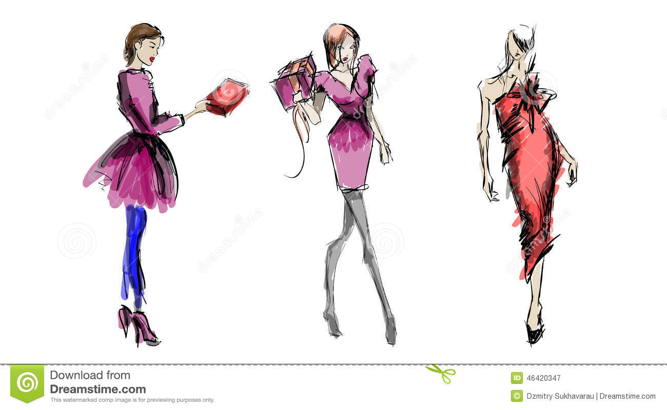 Sketch Fashion Girls Stock Vector Image 46420347