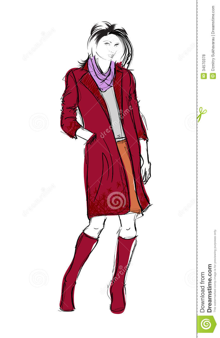 Sketch Fashion Girls Stock Illustration Illustration Of Outline 34570378