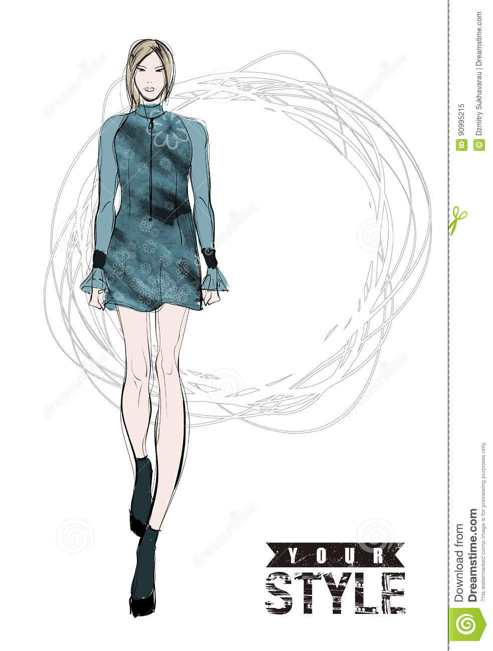 Sketch Fashion Girls Stock Vector Illustration Of People 90995215