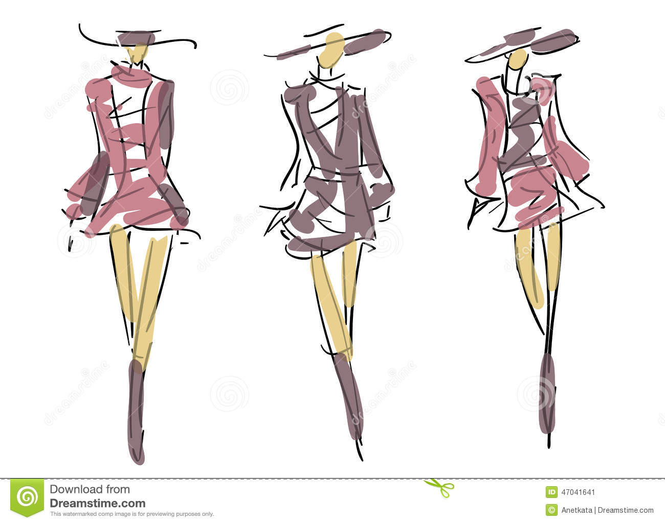 Sketch Fashion Poses Stock Illustration Image 47041641