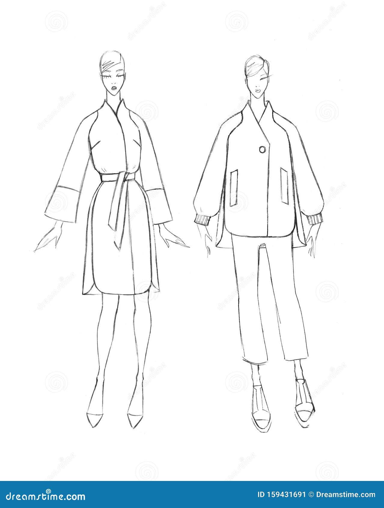 Sketch Of A Female Coat Set Fashion Design Stock Illustration Illustration Of Drawing Girl 159431691