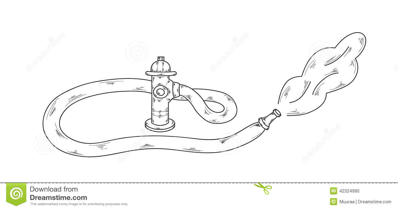 Sketch of the fire hydrant on white background, vector.