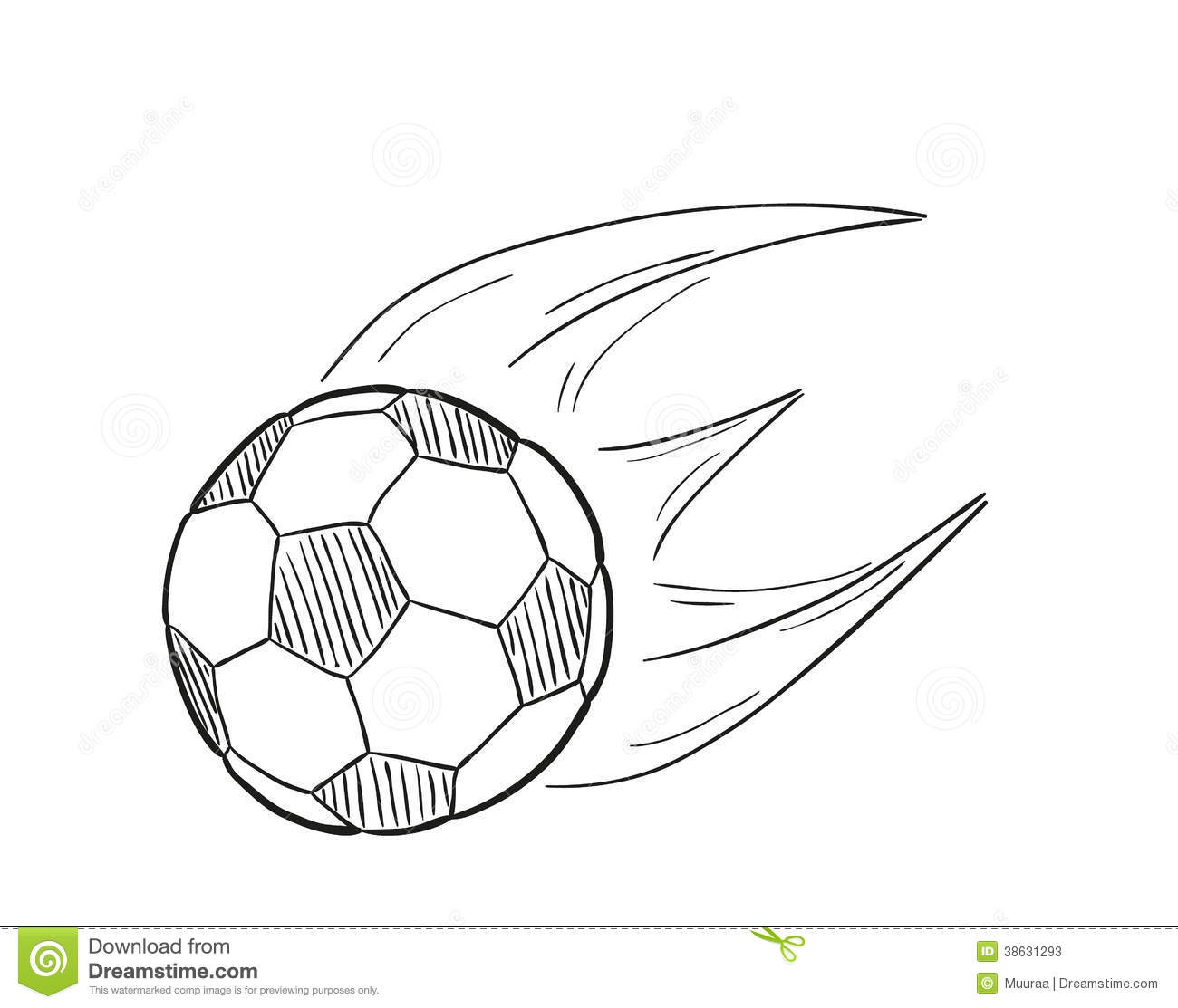 Sketch Of The Flying Football Ball With Flames Stock ...