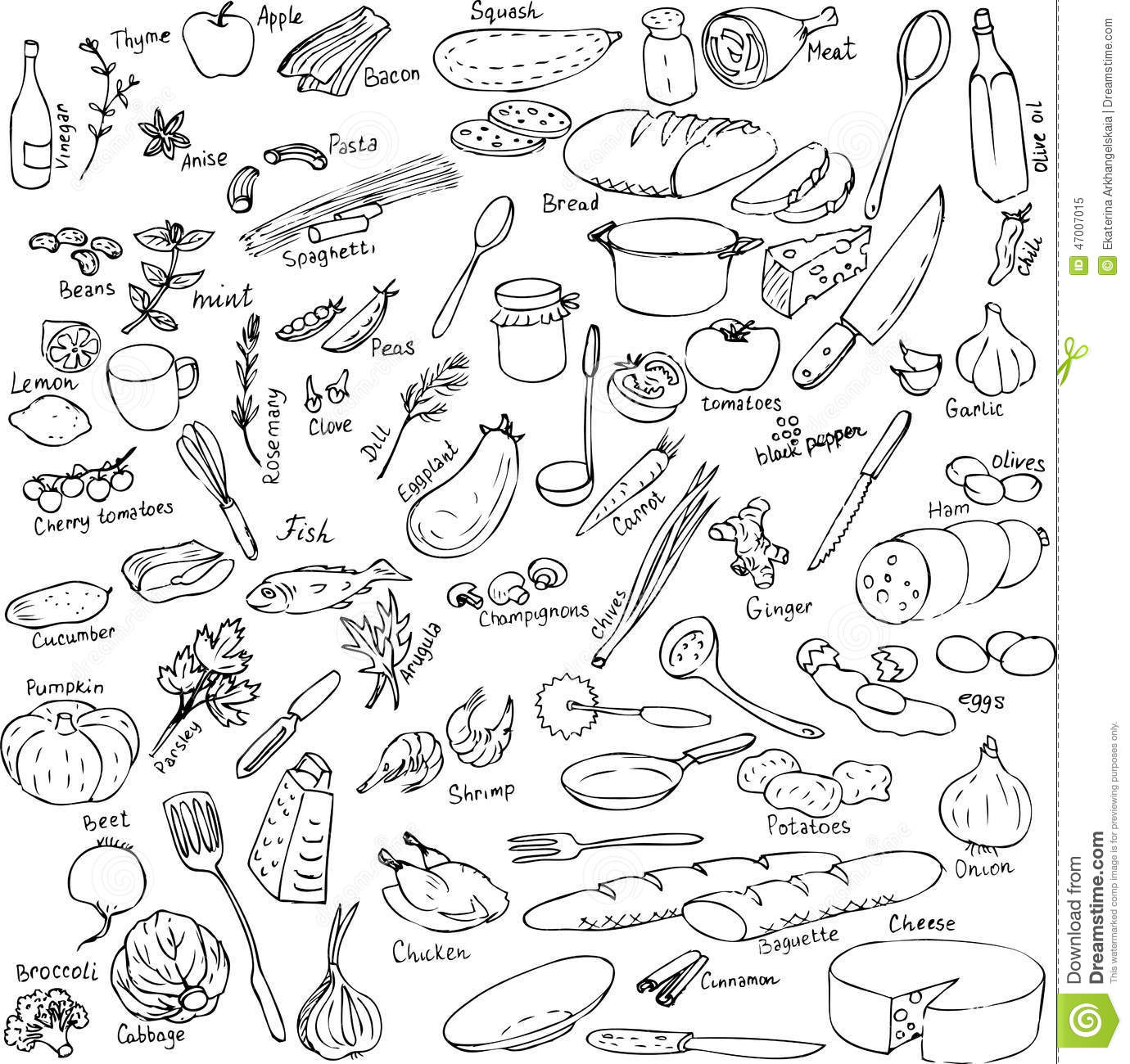The Kitchen Sink Art Drawing Sketch Sketchbook By: Sketch Of Foods, Utensils And Kitchen Equipment Stock