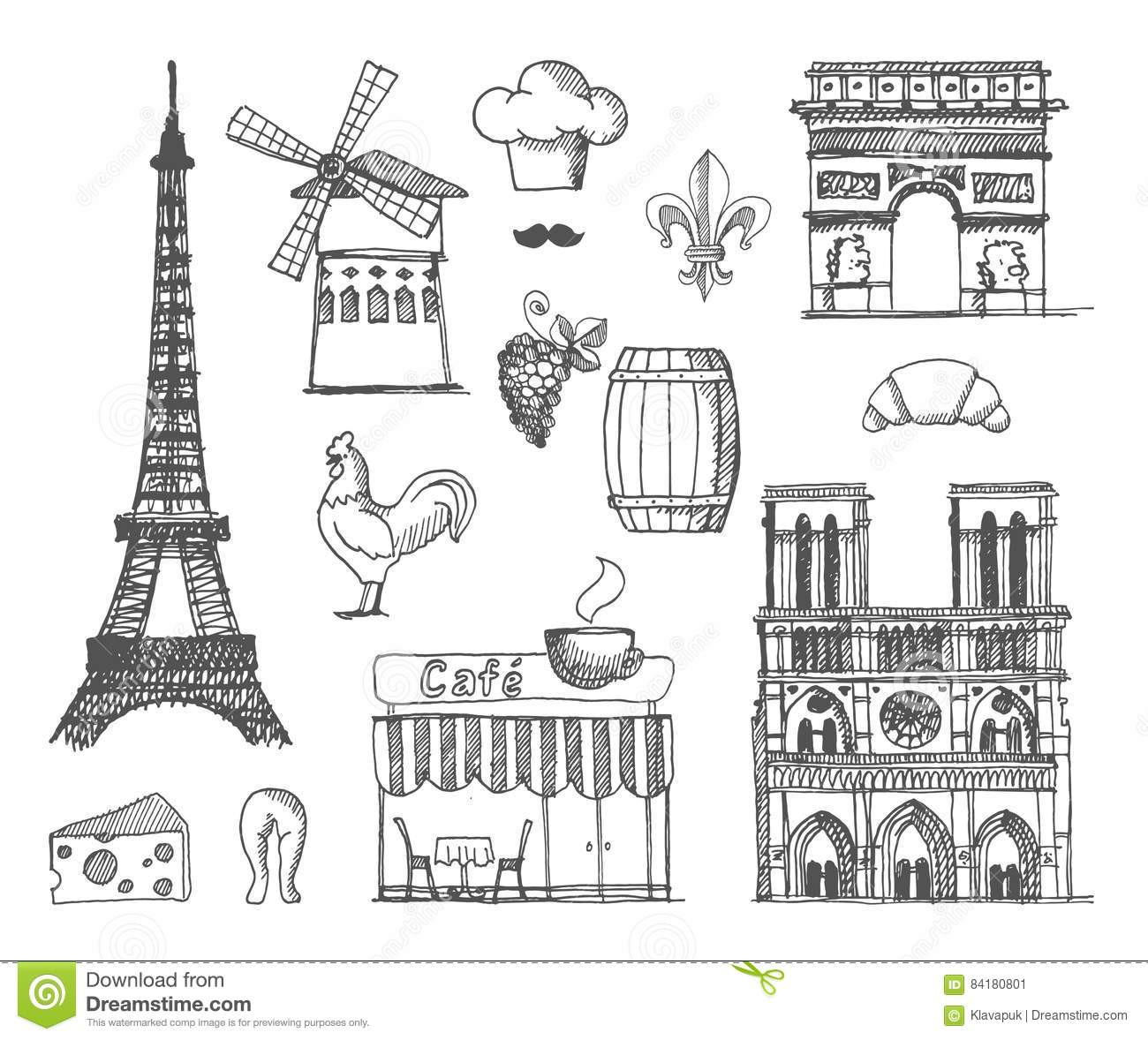The Sketch About France And Paris Editorial Photo Illustration Of