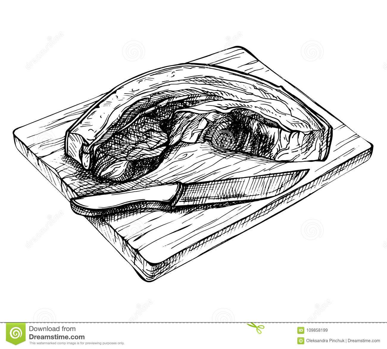 sketch fresh raw pork piece hand drawn sliced belly wooden board detailed ink meat illustration 109858199 sketch fresh raw pork piece hand drawn sliced pork belly on wooden