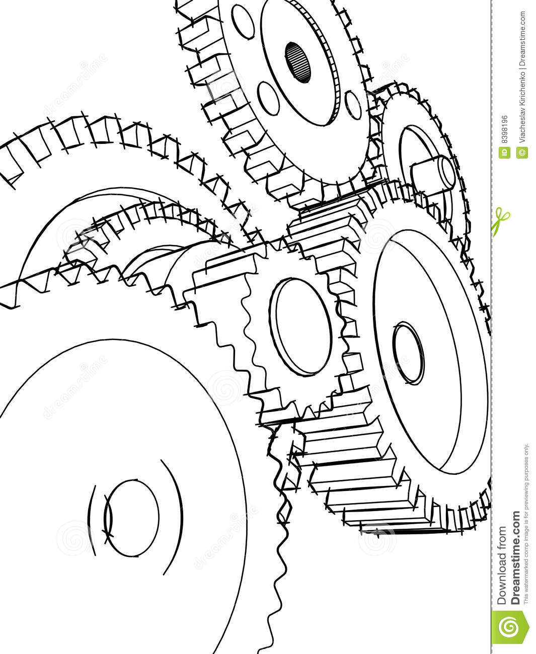 Sketch Gears Royalty Free Stock Image Image 8398196