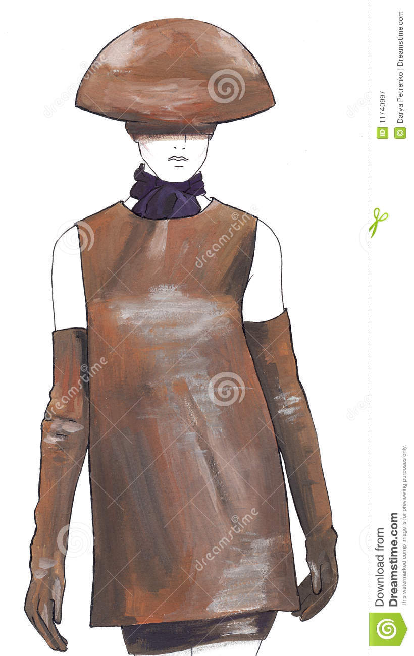 Christmas dress with lights - Sketch The Girl In A Leather Dress And A Hat Royalty Free Stock