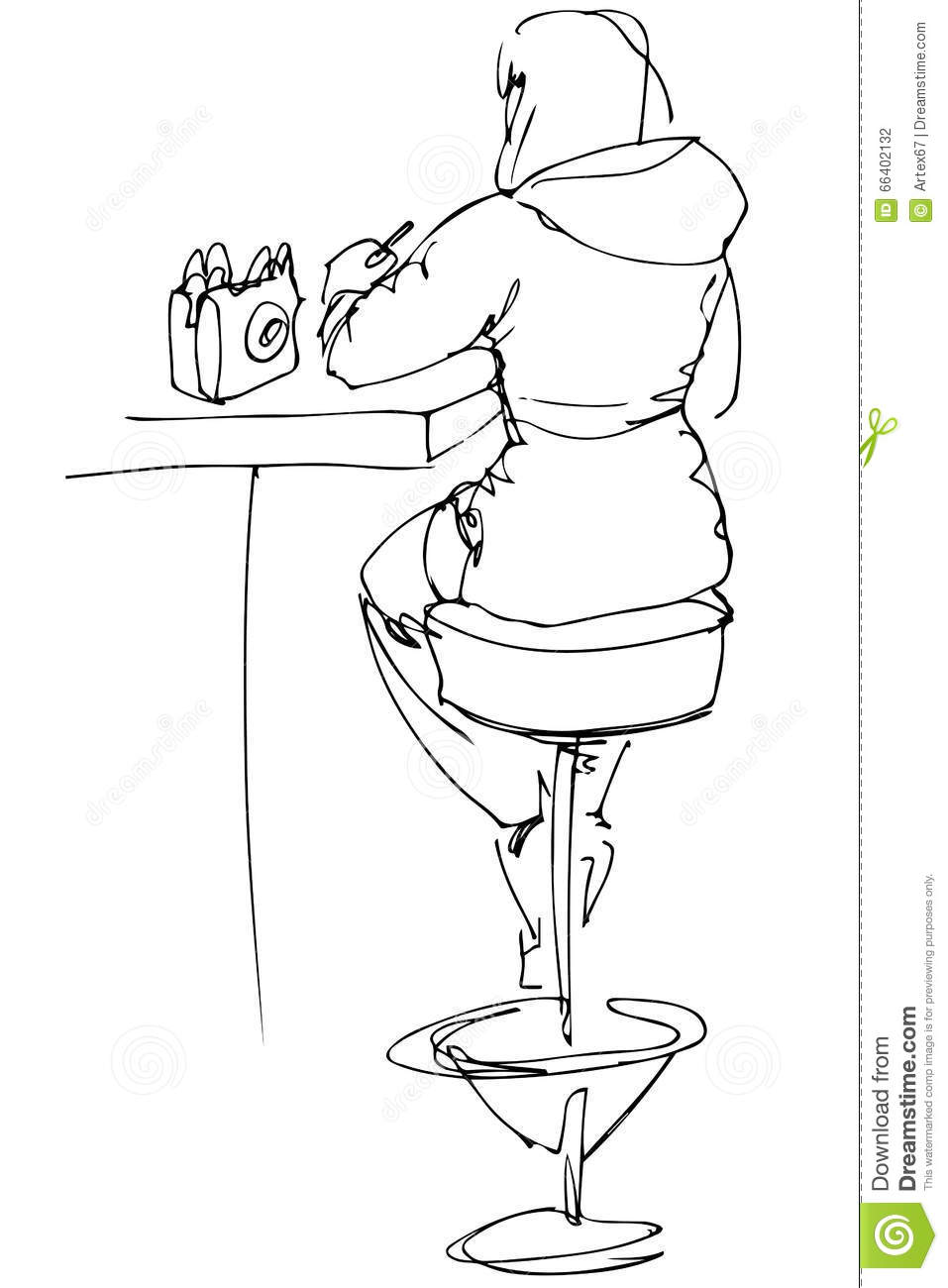 Amazing Sketch Of A Girl Sitting At A Table In A Cafe On A High Machost Co Dining Chair Design Ideas Machostcouk