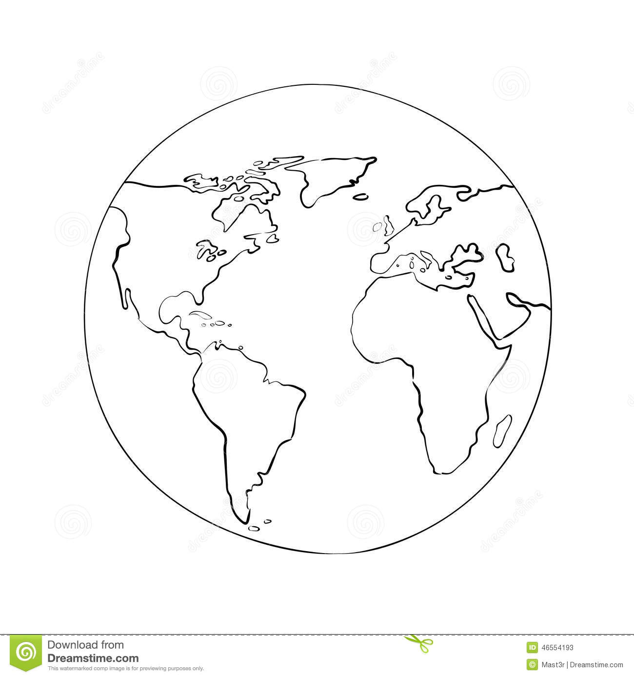 Sketch Globe World Map Black Vector Illustration Stock Vector - World map drawing outline