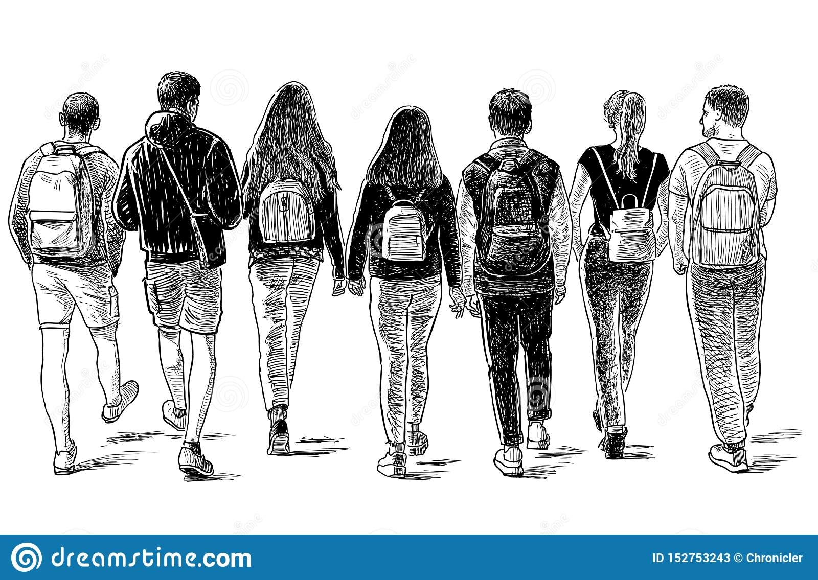 Sketch of a group of students friends walking down the street