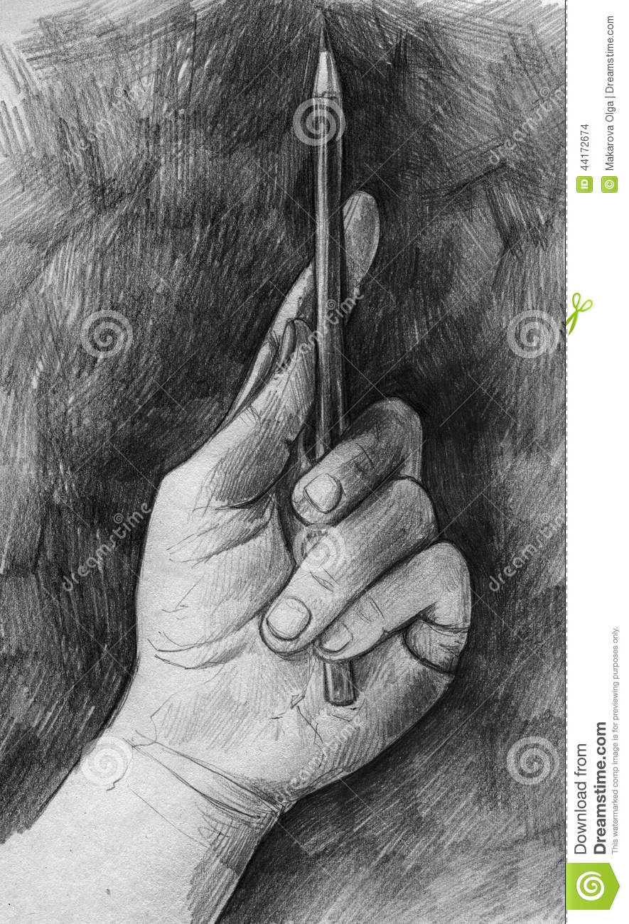 Hand drawn pencil sketch of a hand holding pencil on black background