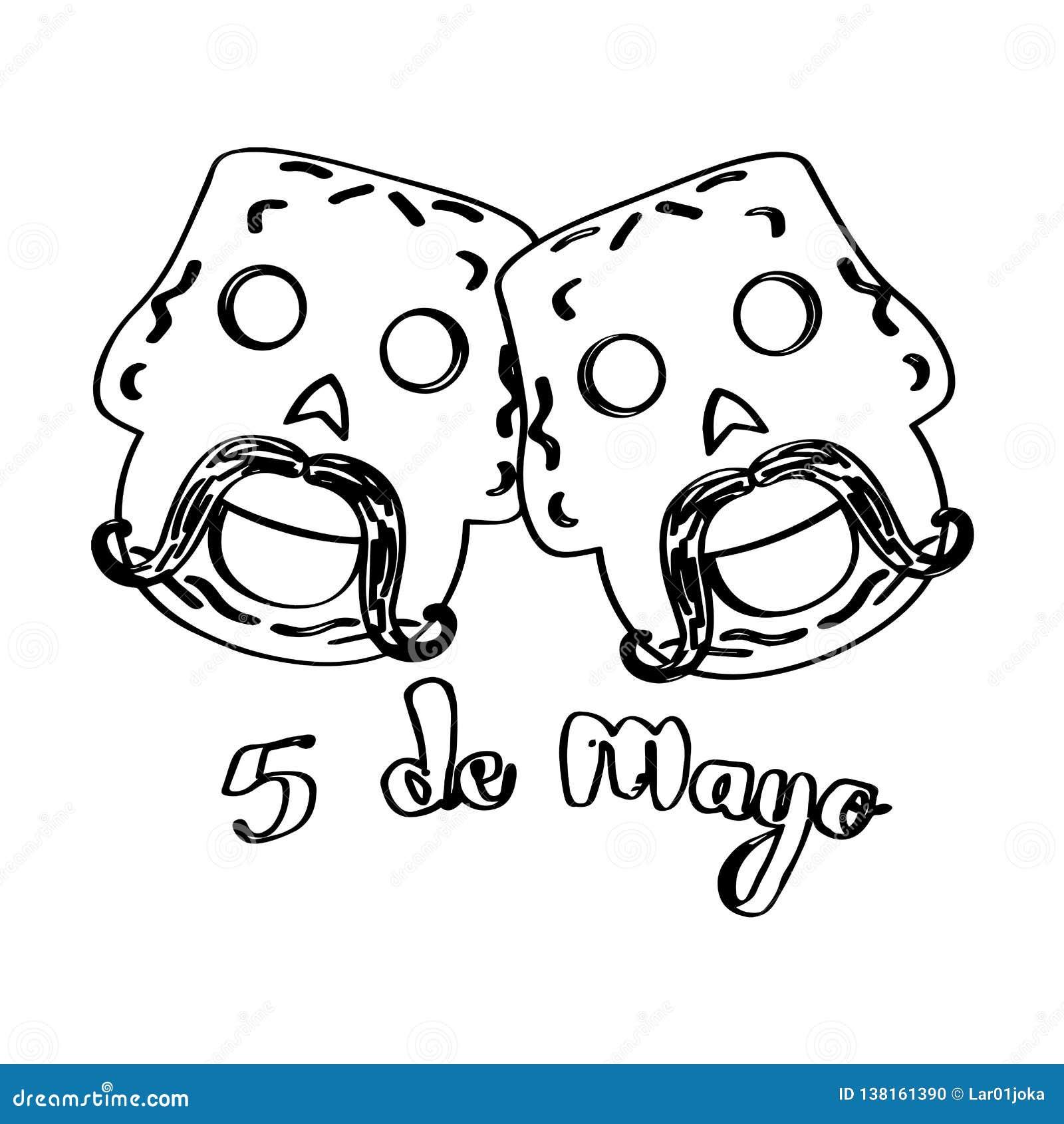 Sketch Of Happy Mexican Skulls. Cinco De Mayo Stock Vector ...