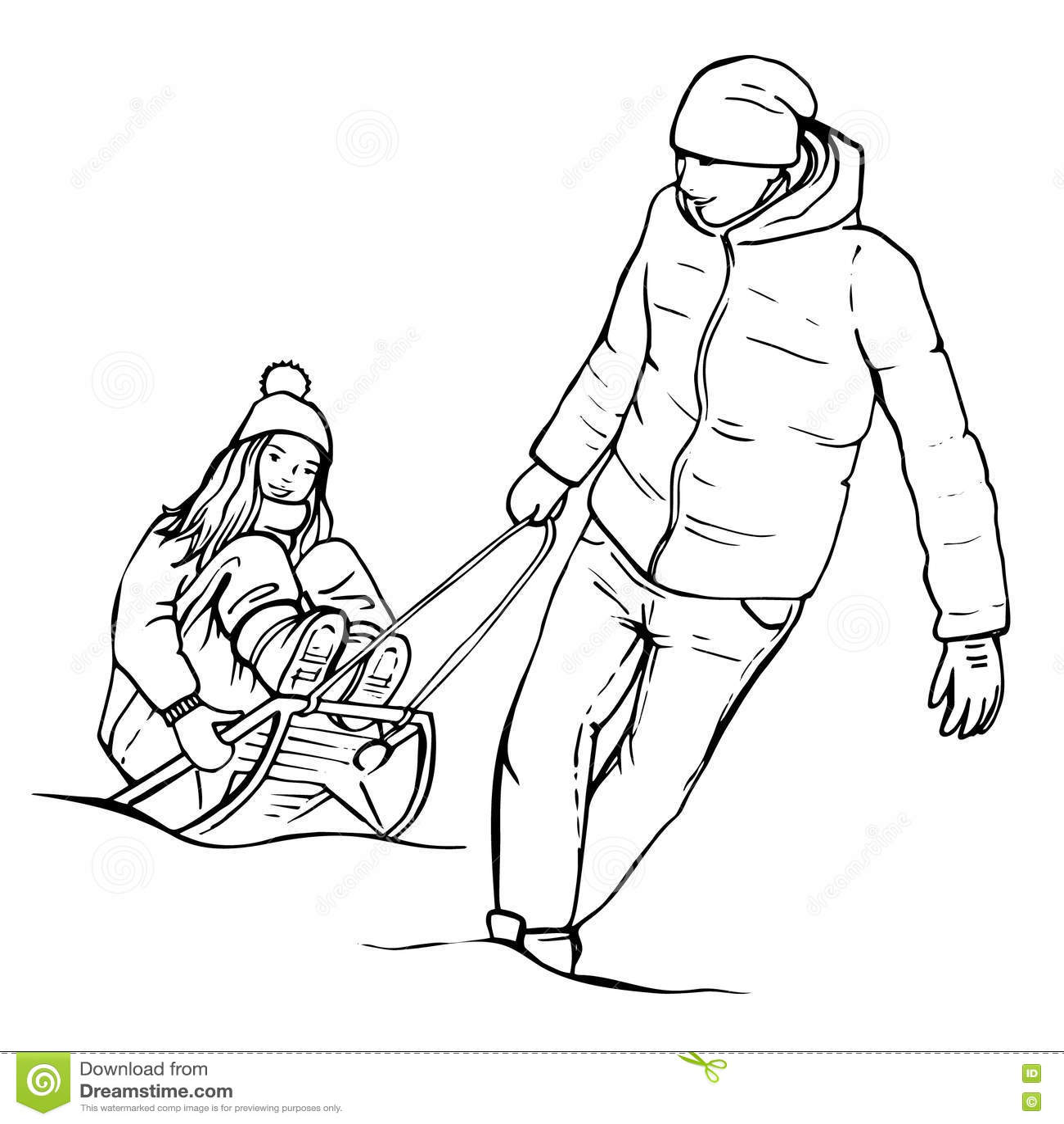 Sketch happy young couple having fun sledding